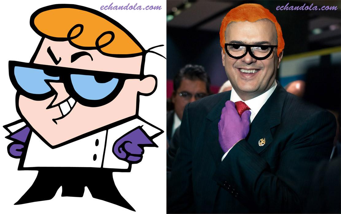 Marcelo Ebrard y Dexter de Dexter's Lab