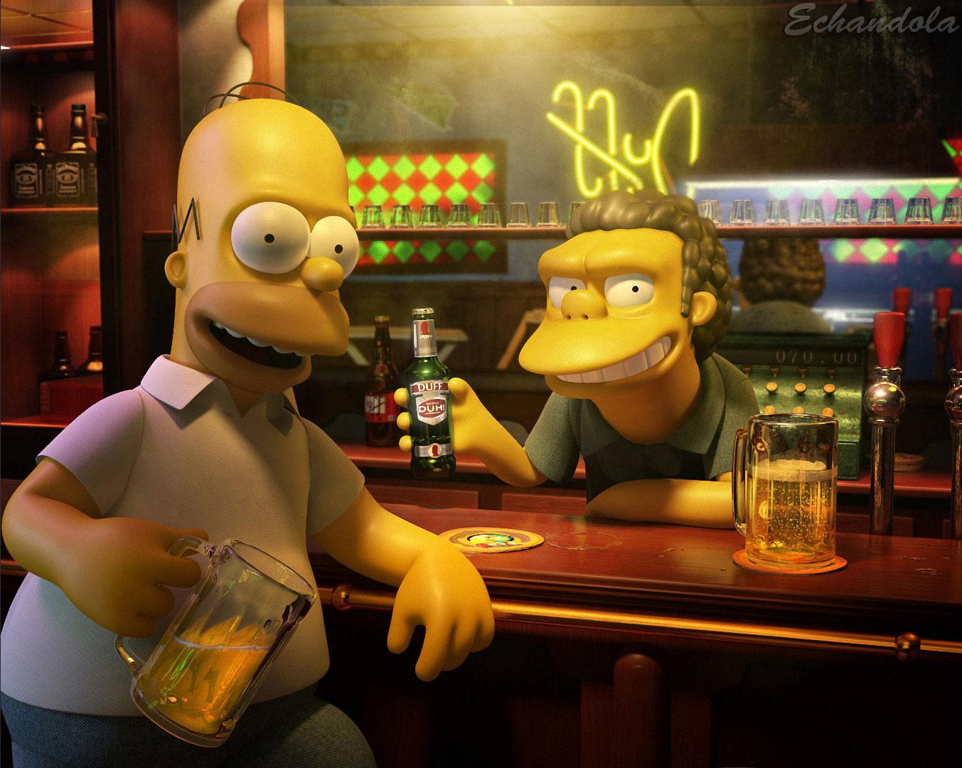 Homero y Moe en 3D